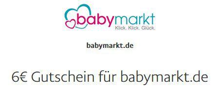 Geht wieder! 6€ PayPal Gutschein bei Babymarkt   kein MBW