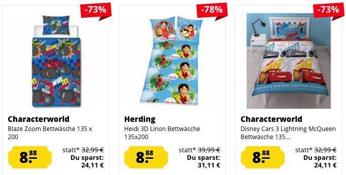 Kinder Bettwäsche mit versch. Motiven für je 8,88€