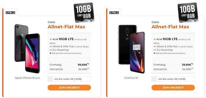Vodafone Allnet Flat von otelo mit 10GB LTE für 34,99€ mtl. + Top Smartphones ab 4,95€ (z.B. OnePlus 6T für 39,95€)