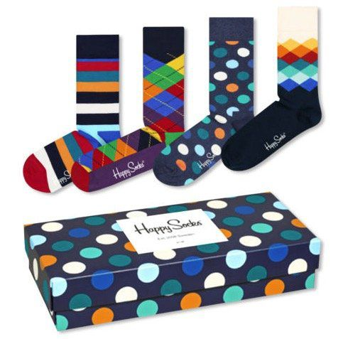 4 Paar Happy Socks Socken inkl. Geschenkbox für 23,99€ (statt 29€)   Plus Mitglieder nur 21,59€