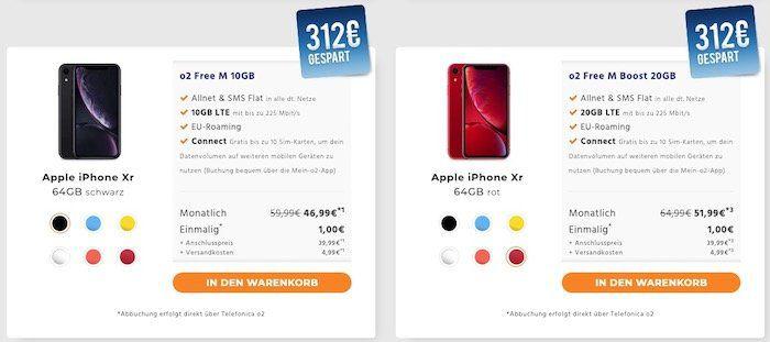 iPhone XR für 1€ oder X für 49€ + o2 Free M mit 10GB LTE ab 44,99€ mtl. (oder 20GB ab 49,99€ mtl.)