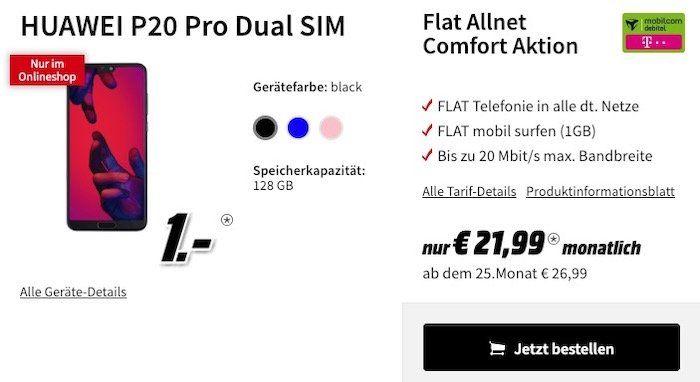 Huawei Highlights in der Media Markt Tarifwelt   z.B. Huawei P20 Pro nur 1€ + Telekom Allnet mit 1GB für 21,99€ mtl.