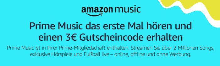 WTF? 🙈 30 Sekunden (erstmalig) Amazon Prime Music streamen und 3€ Gutschein geschenkt bekommen