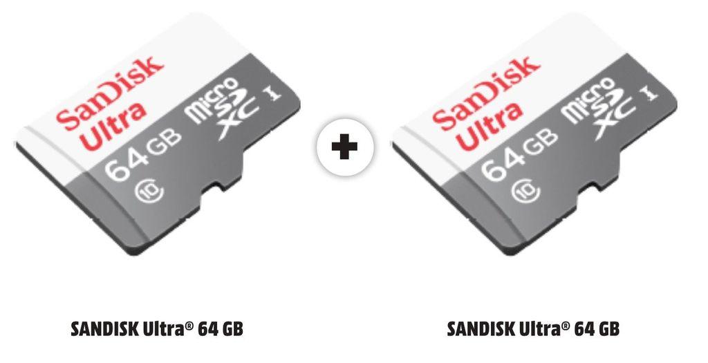 2x SANDISK Ultra microSDXC Speicherkarte 64GB für 16€ inkl. VSK (Vergleich: 29€)