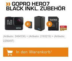 GoPro Hero7 Black Actioncam (4k mit 60fps) inkl. Ersatzakku, Dual Ladegerät und 32GB SD Karte für 399€