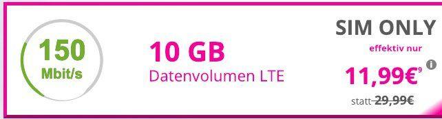 Telekom Datentarif mit 10GB LTE für nur 11,99€mtl.