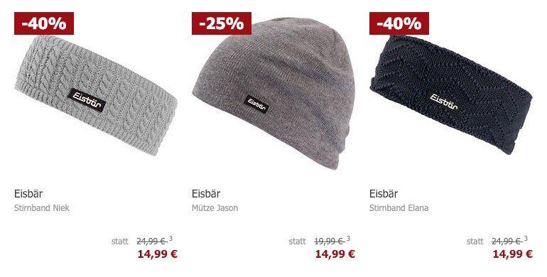 Eisbär Mützen und Stirnbänder für je 14,99€ zzgl. VSK