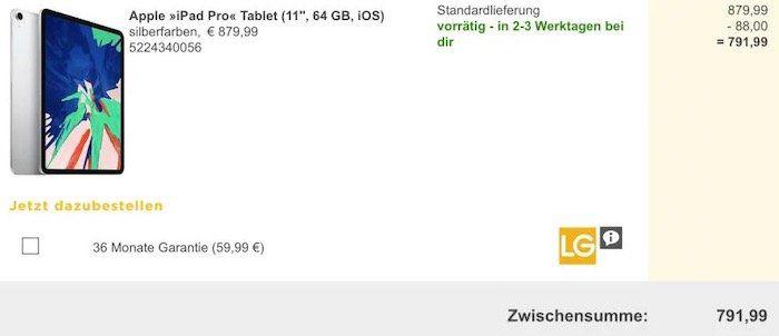 Das neue iPad Pro 11 Zoll mit 64GB + WIFI für 791,99€ (statt 842€)