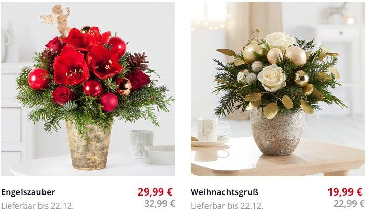 Blume2000 mit 30% Rabatt auf ausgewählte Weihnachtsblumen   z.B. Amaryllis No Water in Weiß mit Wachs in Roségold