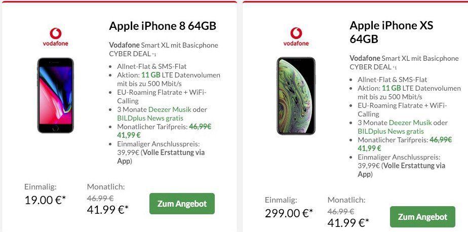 🔥 Vodafone Smart XL mit 11GB LTE (junge Leute 17GB LTE) für nur 41,99€ mtl. + Top Smartphone (z.B. iPhone 8 nur 19€)
