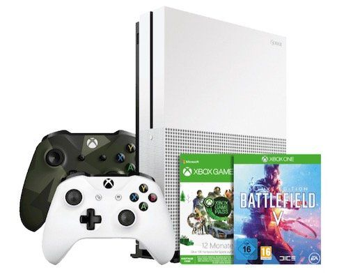 Xbox One S 1TB + 2 Controller + 1 Jahr Game Pass + Battlefield 5 + Battlefield 1 + Battlefield 1943 + Fallout 76 für 231€ (statt 279€)