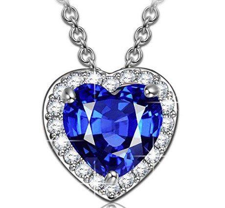 Kami Idea Damen Kette mit blauem Herz Anhänger für 9,99€