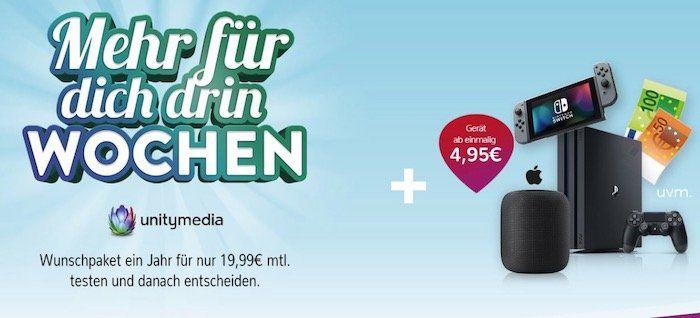 Unitymedia Angebote bei Handyflash   z.B. 2play Fly 400 effektiv 34,95€ mtl. + PS4 Pro inkl. FIFA 20 für 130€