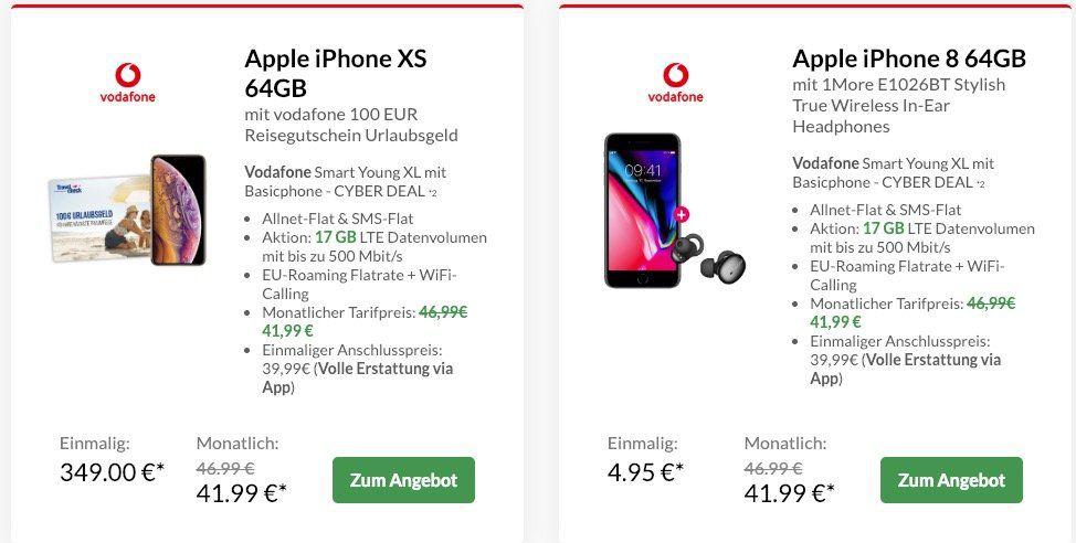 Vodafone Smart XL mit 11GB LTE (junge Leute 17GB LTE) für nur 41,99€ mtl. + Top Smartphone (z.B. iPhone 8 nur 4,95€)