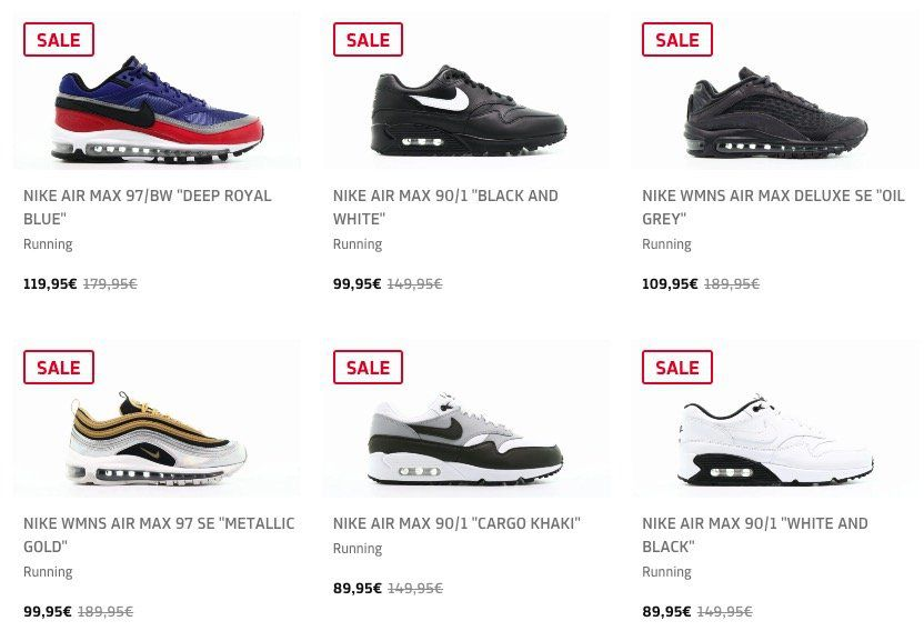 25% Rabatt auf alle Nike Air Max im Afew Sale – z.B. Nike Air Max 90 Essential für 74,96€ (statt 105€)