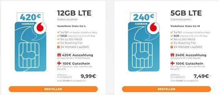Vodafone DataGo 5GB oder 12GB LTE Datentarife dank Auszahlung für 7,49€ bzw. 9,99€ mtl. + 100€ Reisegutschein