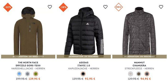 Großer Jacken Sale bei SportScheck + 15% Gutschein ab 80€   z.B. adidas Itavic 2.0 für 83,81€(statt 95€)