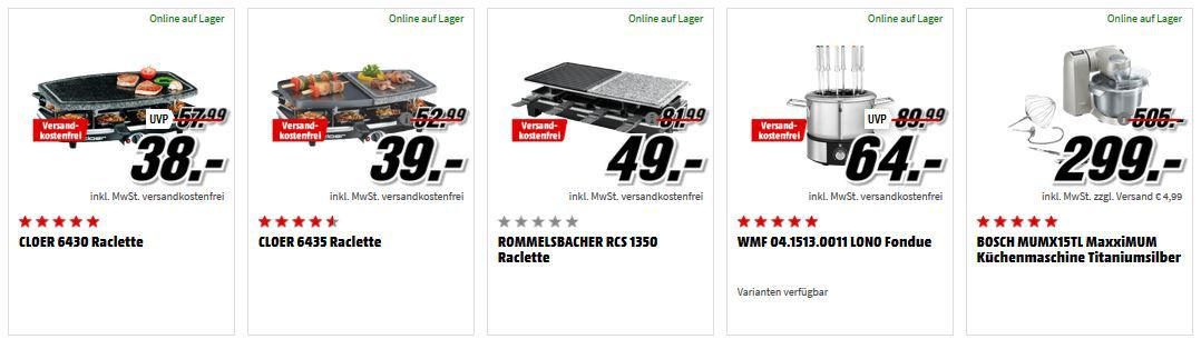Media Markt Raclettes, Fondues und Backhelfer   Top Weekendaktion   z.B. Rommelsbacher RCS Raclette für 49€ (statt 68€)