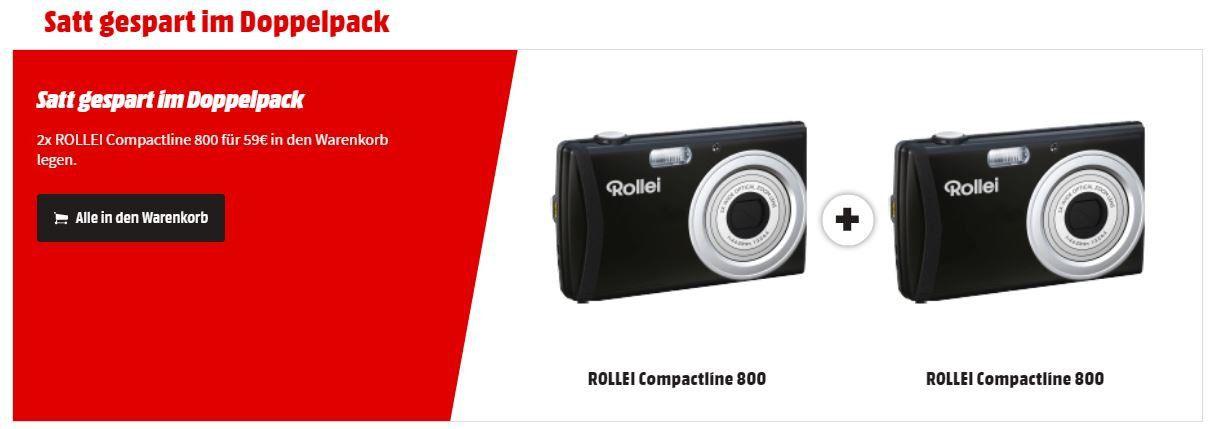 DOPPELPACK   ROLLEI Compactline 800 Digitalkamera, 20 MP, 5x opt. Zoom ab 59€ (statt 102€)