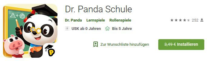 Dr. Panda: Schule (Android/iOS) kostenlos statt 3,49€