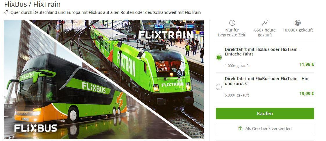 FlixBus & Train Ticket für 11,99€ mit Rückfahrt 19,99€   gilt auf Reisen 1. Quartel 2019
