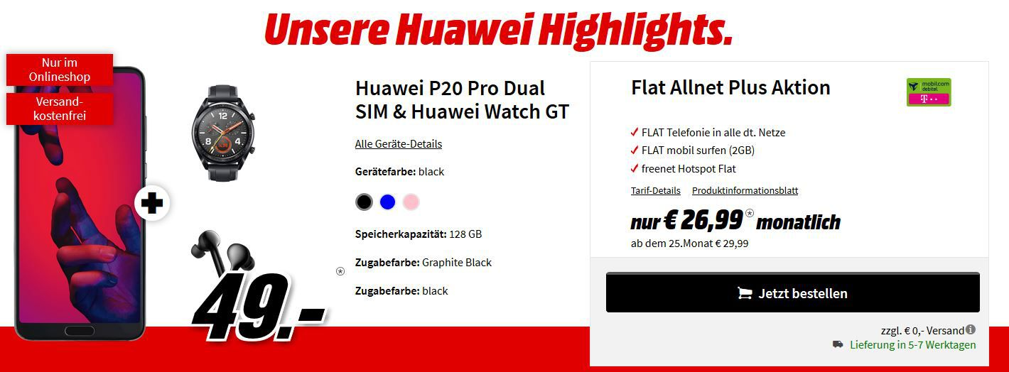 ? Knaller! Huawei P20 Pro Dual SIM + Huawei Watch GT + Huawei FreeBud In Ears für 49€ (statt 894€) + Telekom AllNet +  2GB Daten für 26,99€