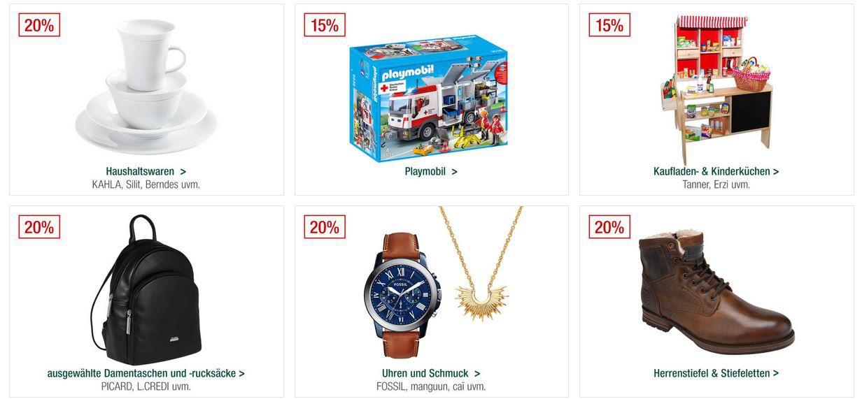 Galeria Kaufhof Sonntagsangebote   z.B. 20% auf ausgewählte Uhren & Schmuckartikel 15% Rabatt auf ausgewählte Spirituosen .... VSK frei ab 20€