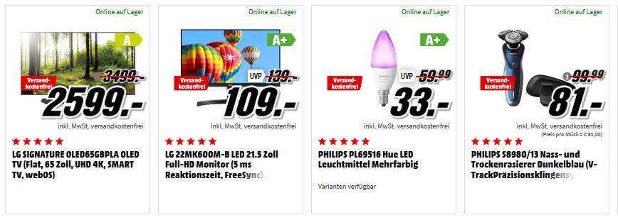 Media Markt Mega Marken Sparen: günstige Artikel von LG, Philips, Sony und  Bose