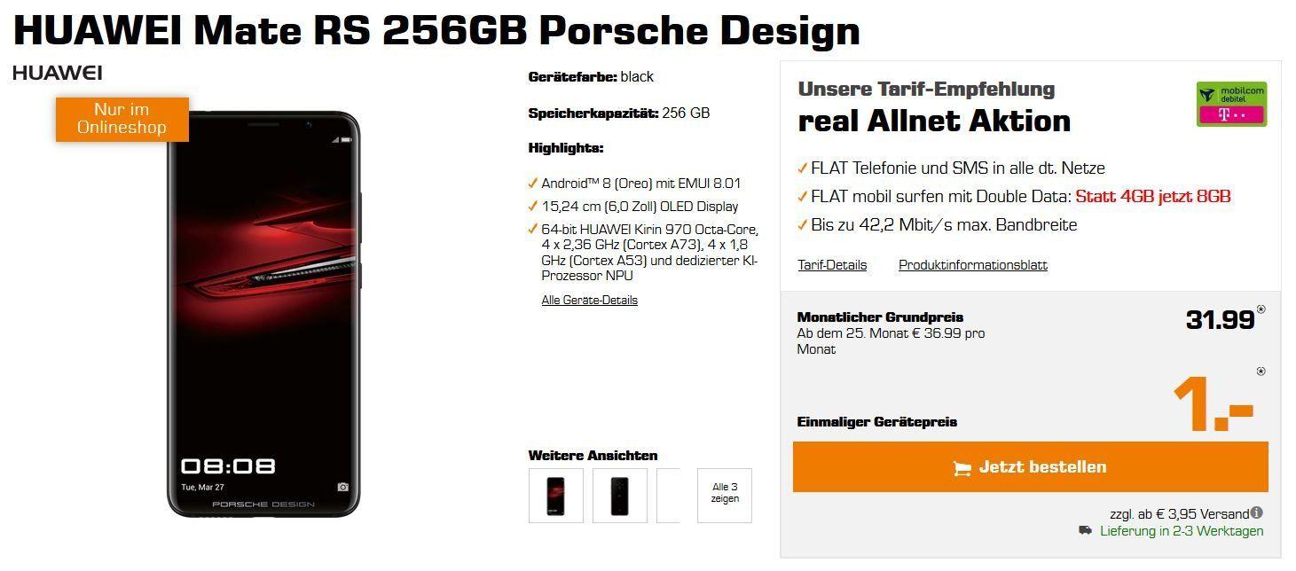 Vorbei! HUAWEI Mate RS Porsche Design 256 GB für 1€ (statt 979€) + Telekom AllNet + 8GB Daten für 31,99€ mtl.