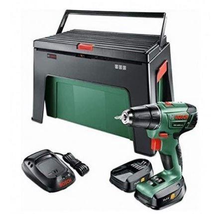 BOSCH PSR1440 LI 2 Akkuschrauber + 2 Akkus 1,5Ah + Werkzeugkiste & Step Workbox für 89,99€ (statt 148€)