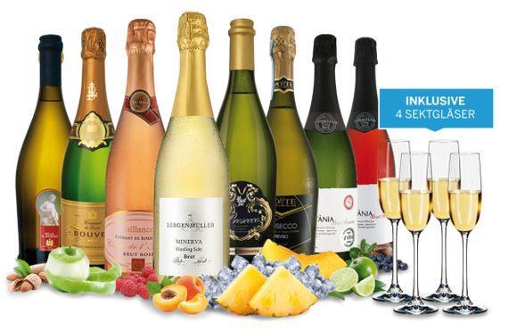 8 Flaschen Sekt & Co. aus 4 Ländern für 74,95€ + 4 Sektgläser + Aromarad gratis