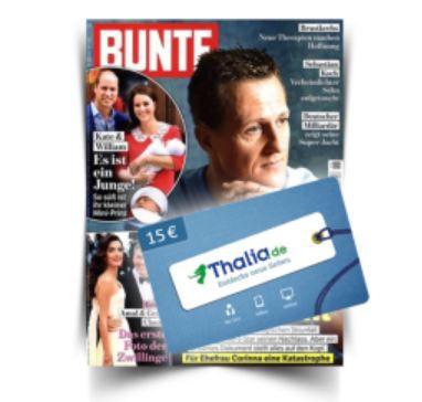Jahresabo BUNTE für 24,80€ (statt 207,40€) + 15€ Thalia Gutschein
