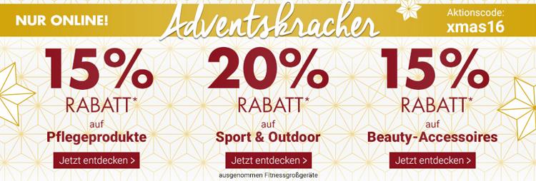 Karstadt Adventskracher mit 15% Rabatt auf Pflegeprodukte, Beauty Accessoires und 20% auf Sport  & Outdoor Artikel + VSK freier Versand