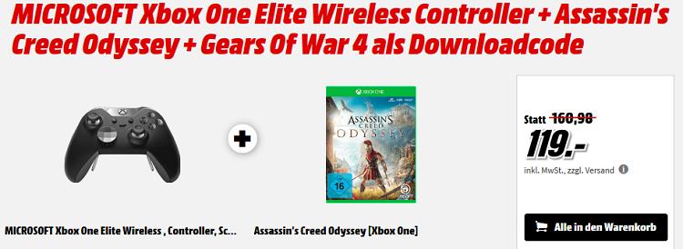 Xbox One Elite Controller + Assassins Creed Odyssey + Gears Of War 4 für 119€ (statt ~180€)