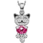 """Kami Idea Halskette """"Glückliche Katze"""" aus Sterlingsilber mit Swarovski-Kristallen für 17,99€ (statt 30€)"""