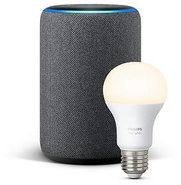Amazon Echo Plus (2. Gen) Lautsprecher mit integriertem Smart Home Hub + Philips Hue E27 Lampe für 124,97€ (statt 158€)