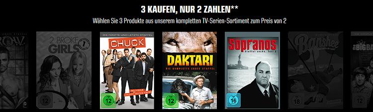 3 kaufen, nur 2 zahlen   TV Serien (Staffeln & Komplettboxen) bei Saturn