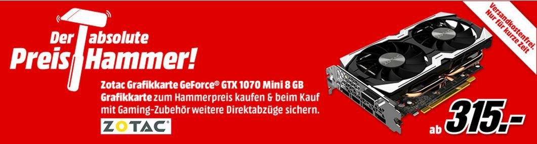 Top! ZOTAC GeForce GTX 1070 Amp!  oder Mini + Games o. Hardware ab 319€