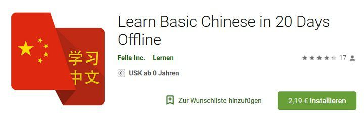 Für Android: Learn Basic Chinese in 20 Days Offline gratis (statt 2,19€)