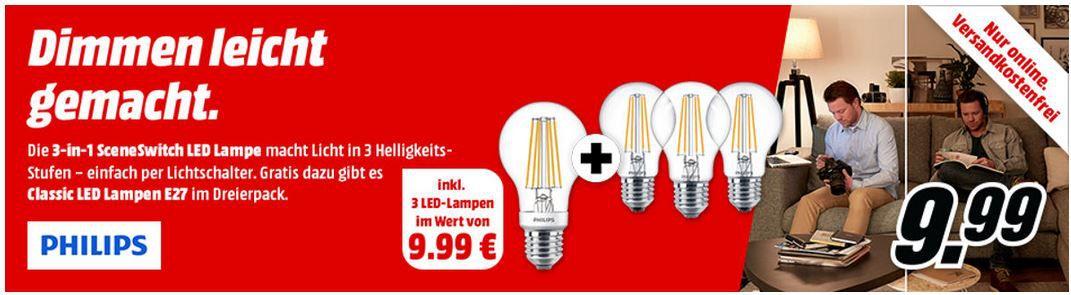 PHILIPS 3 in 1 SceneSwitch E27 LED  + 3 Philips Classics Filament LEDs für nur 9,99€ (statt 25€)