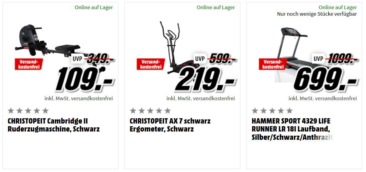Media Markt Fitness Aktion: z.B. CHRISTOPEIT AX 7 Crosstrainer für 219€