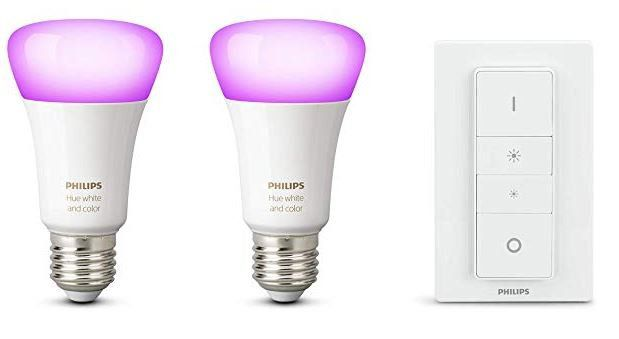 PHILIPS Hue White & Color Ambiance 2 LED E 27 + Dimmer für 59,38 (statt 100€)