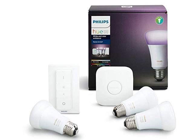 PHILIPS Hue White & Color Ambiance StarterSet + 3 LED E 27 + Dimmer für 103,05 (statt 134€)