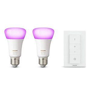 PHILIPS Hue White & Color Ambiance 2 LED E 27 + Dimmer für 59,38 (statt 100€)