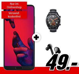 🔥 Knaller! Huawei P20 Pro Dual SIM + Huawei Watch GT + Huawei FreeBud In Ears für 49€ (statt 894€) + Telekom AllNet +  2GB Daten für 26,99€