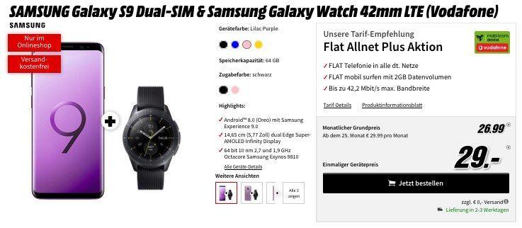 Vorbei! Samsung Galaxy S9 inkl. Samsung Galaxy Watch 46mm LTE für 29€ (Wert 845€) + Vodafone Allnet Flat mit 2GB für 26,99€ mtl.
