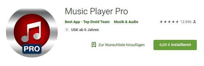 Music Player Pro (Android) gratis (statt 4,09€)
