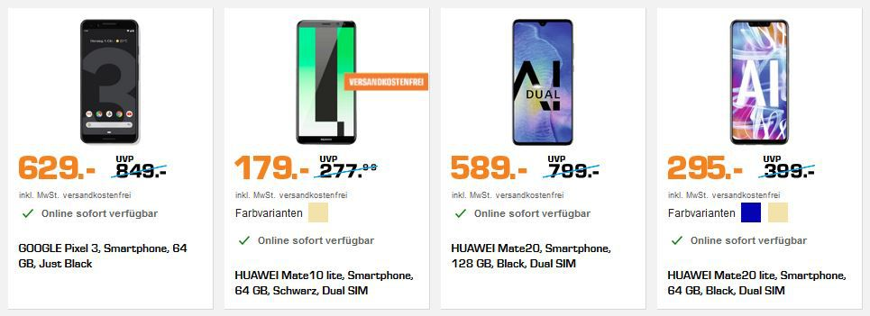 Saturn Happy New Handy: z.B. HUAWEI Mate10 lite für 179€ (statt 208€)
