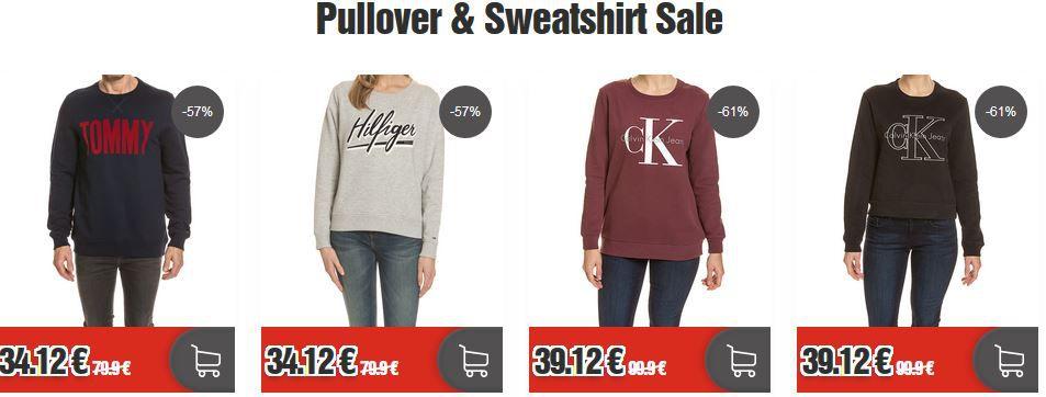 HOT! Markenpullover & Sweatshirt Sale bei top12   bis 64% Rabatt z.B. Armani Jeans Sweatshirt für 49,12€