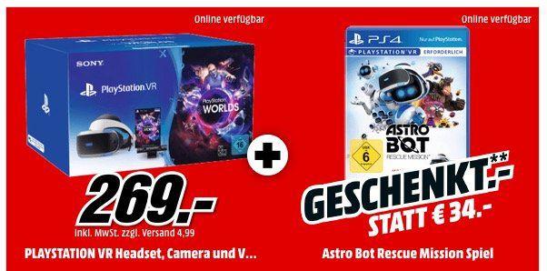Playstation VR Brille + Kamera + VR Worlds + Astro Bot Rescure Mission ab 269€